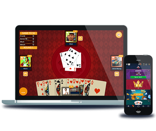 Hearts card game on mobile or web