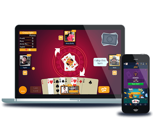 Play Crazy Eights on different devices